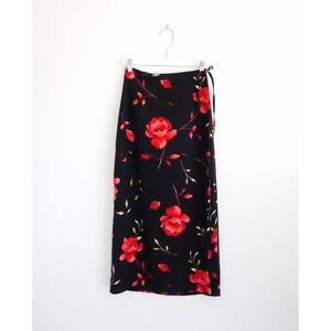 Vintage 90s Black Red Floral Wrap Skirt fit 2 XS